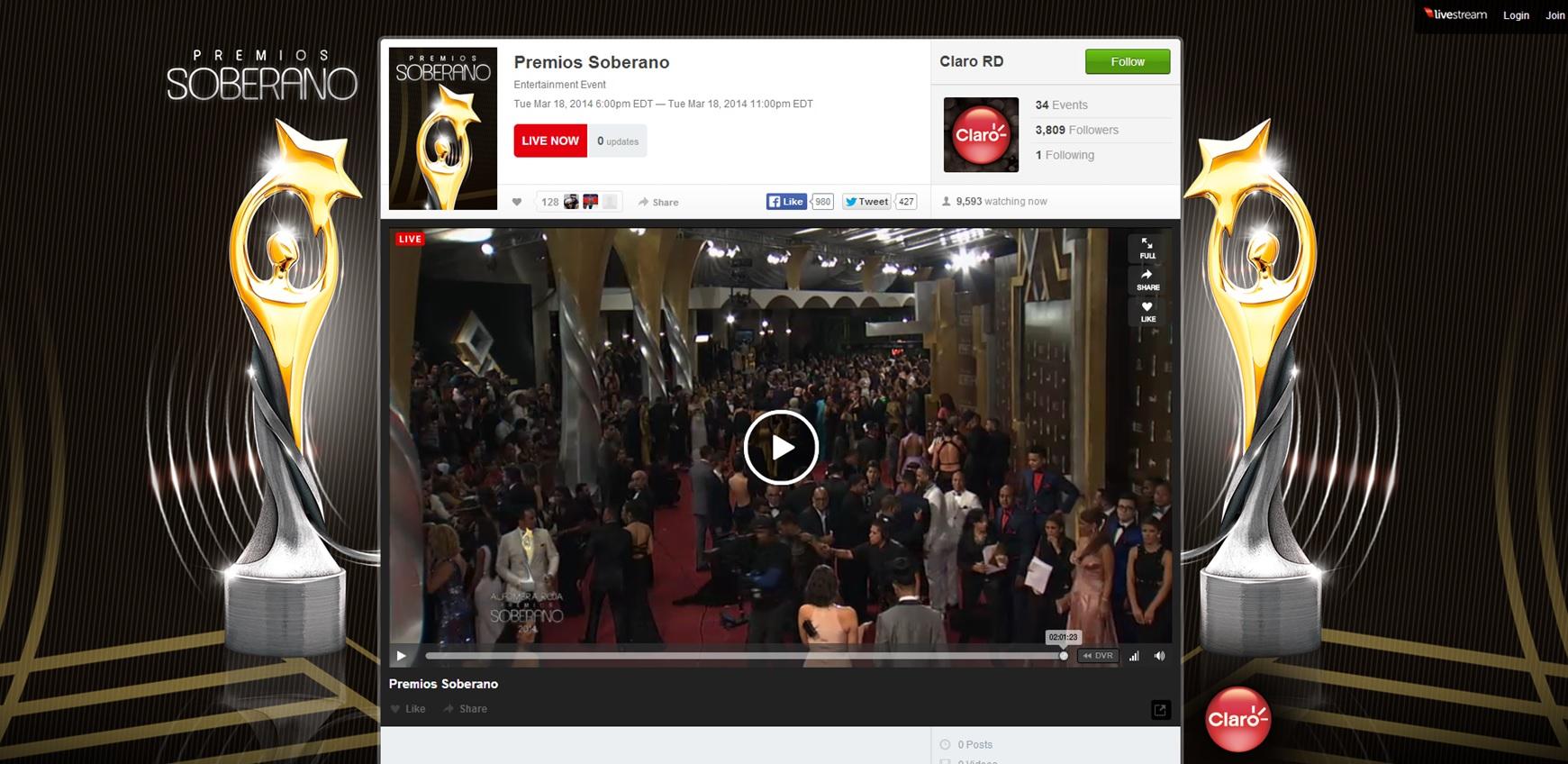 Transmisión en Vivo premios Soberano 2014