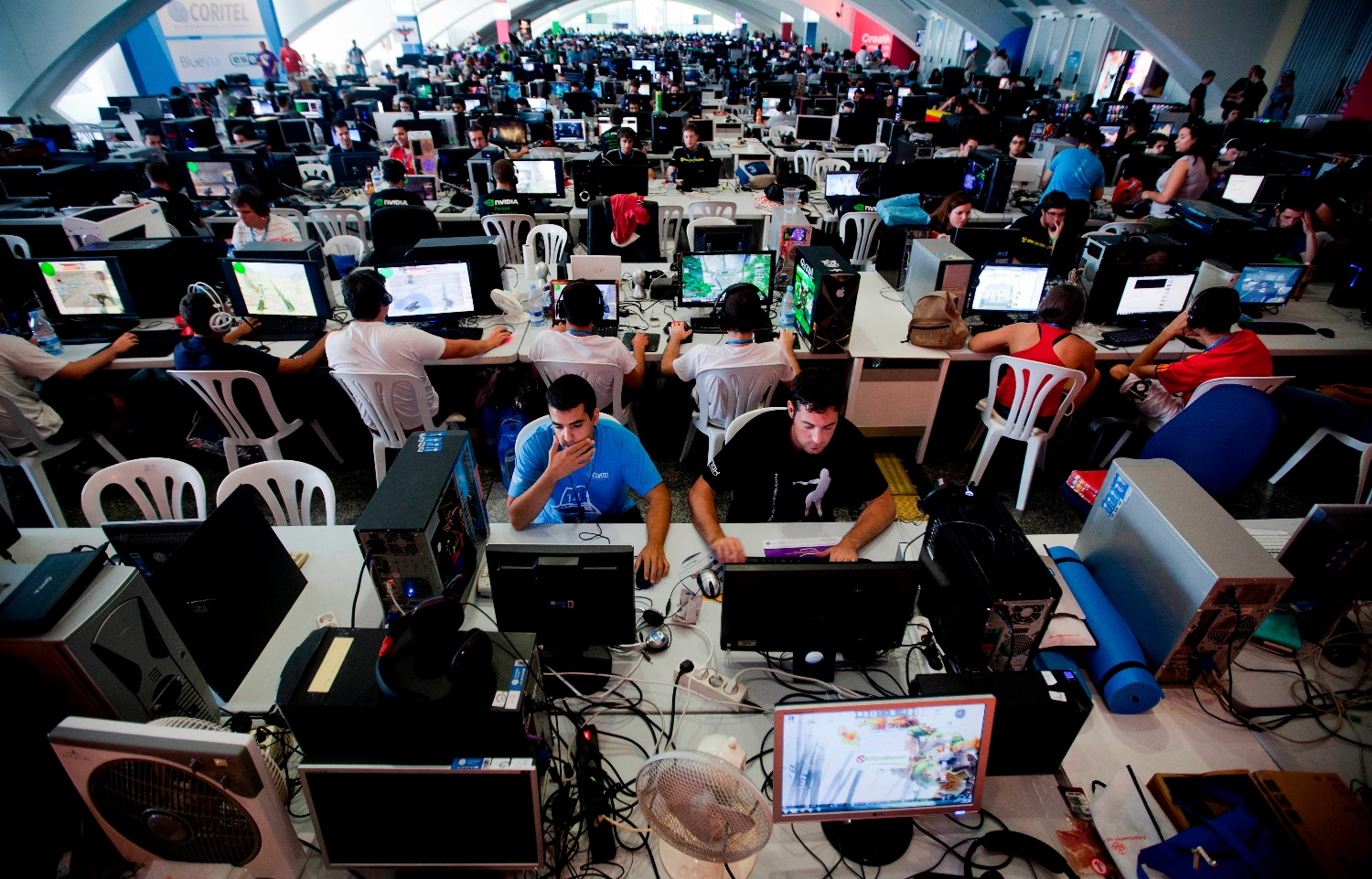 People attend the annual 'Campus Party'  Internet users gathering in Valencia, Spain, Tuesday, July 12, 2011.